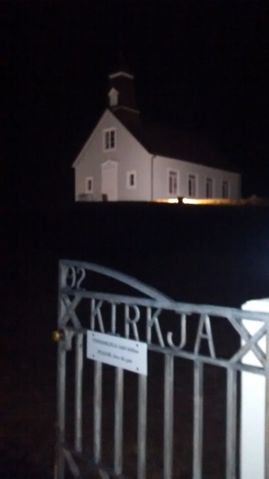 """While we were out """"hunting"""" for the Northern lights, our first stop over a 5hr outing was at a church near the shore that was built after fisherman were lead to safety by an angel, this is local lore and believed by most."""